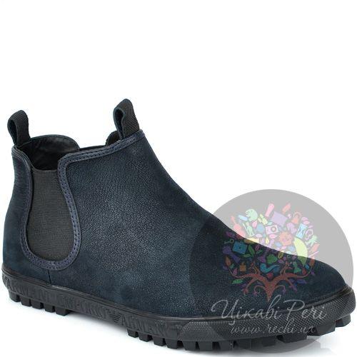 Ботинки Emporio Armani осенние из темно-синей кожи , фото