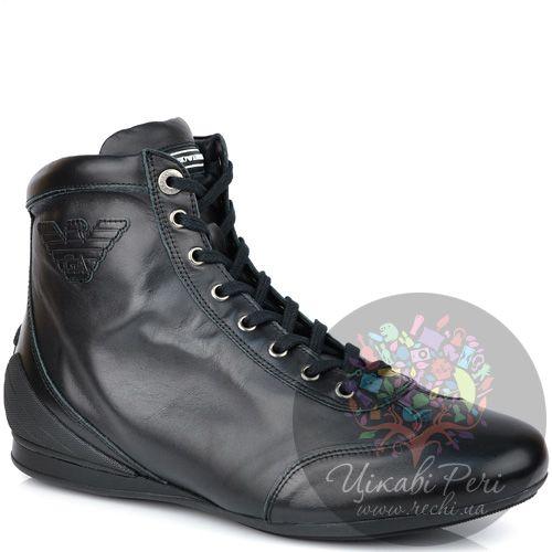 Ботинки Emporio Armani осенние кожаные черные на шнуровке, фото