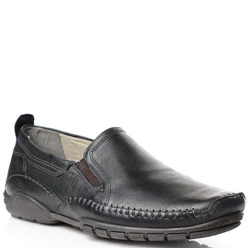 Мужские туфли-мокасины Fretz Men кожаные черные, фото