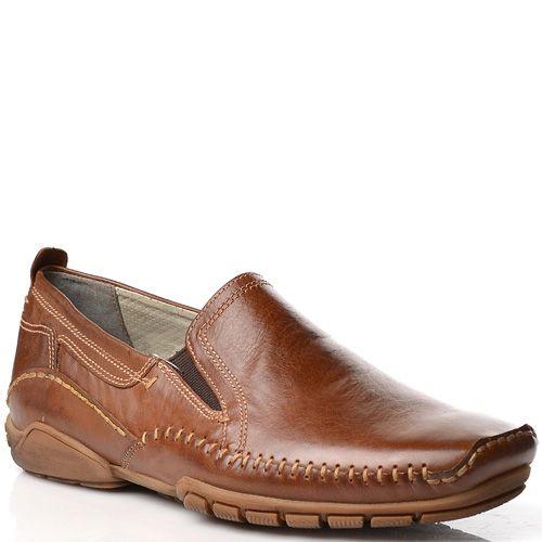 Мужские туфли-мокасины Fretz Men кожаные коричневые, фото