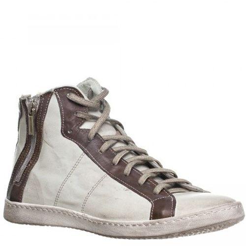 Кеды Bagatt кожаные светло-серые с коричневой отделкой высокие на шнуровке и молнии, фото
