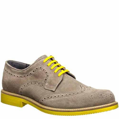 Броги Bagatt замшевые серые с желтой подошвой и шнуровкой, фото