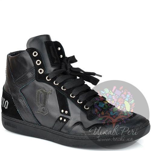 Кроссовки Galliano высокие черные кожаные, фото