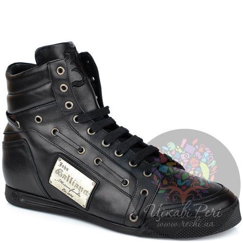 Кеды John Galliano черные кожаные высокие, фото