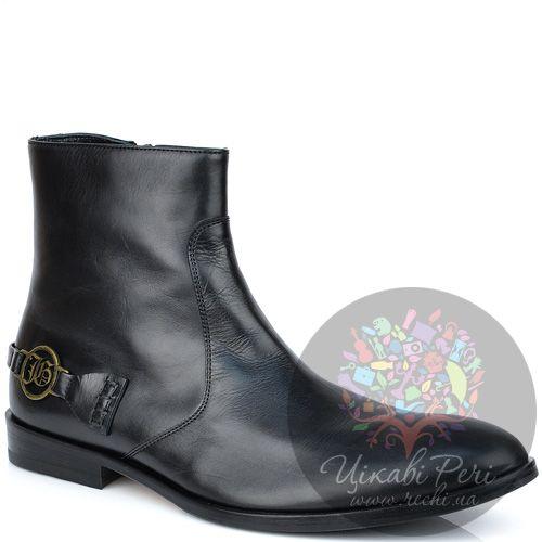 Ботинки John Galliano высокие осенние черные из гладкой кожи на молнии, фото