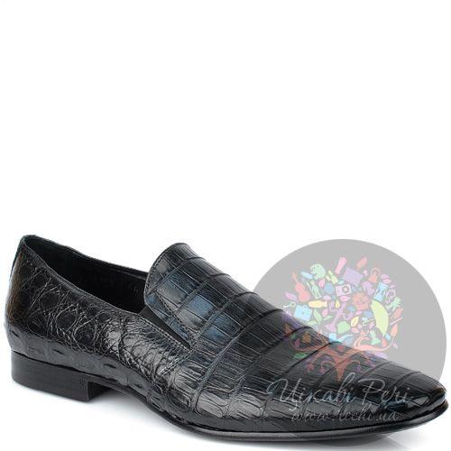 Туфли Giorgio Fabiani закрытые черные с красивой фактурой кожи крокодила, фото
