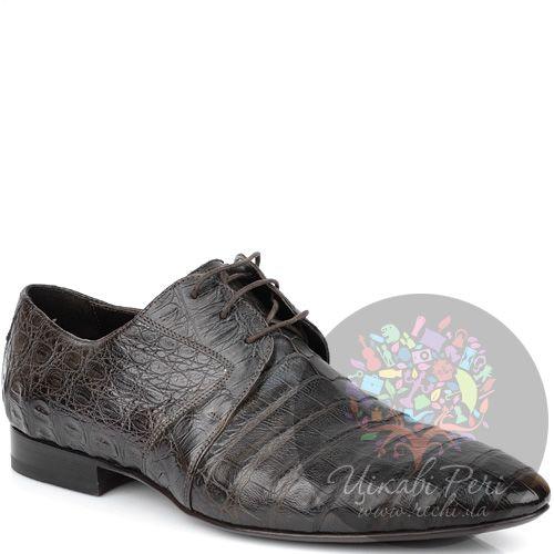 Туфли-дерби Giorgio Fabiani темно-коричневые с фактурой кожи крокодила, фото
