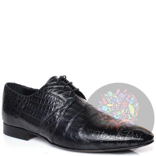 Туфли-дерби Giorgio Fabiani черные с фактурой кожи крокодила, фото