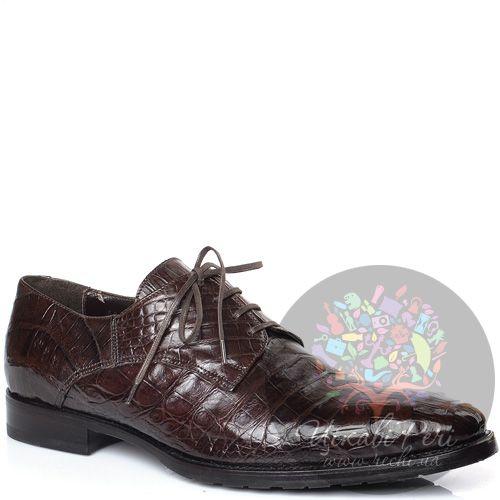 Туфли-дерби Giorgio Fabiani коричневые с фактурой кожи крокодила, фото