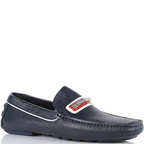 Туфли Harmont Blaine темно-синего цвета с красно-белой пряжкой, фото