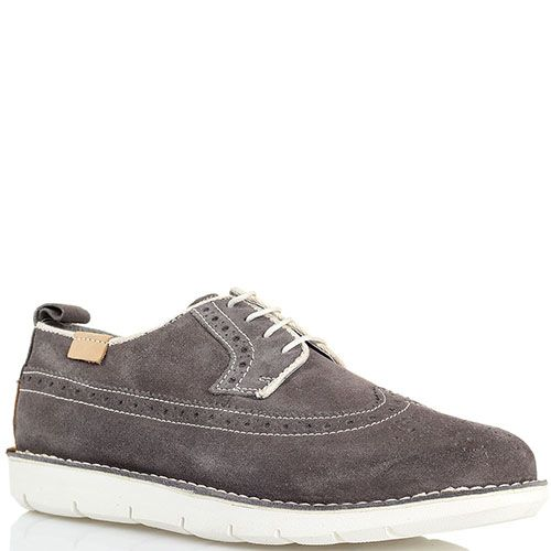 Замшевые туфли-броги с перфорацией серого цвета Halland, фото