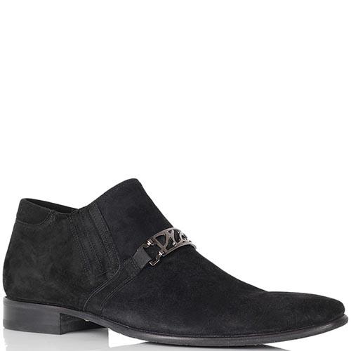 Туфли Mirko Ciccioli из натуральной замши черного цвета с брендовым декором, фото