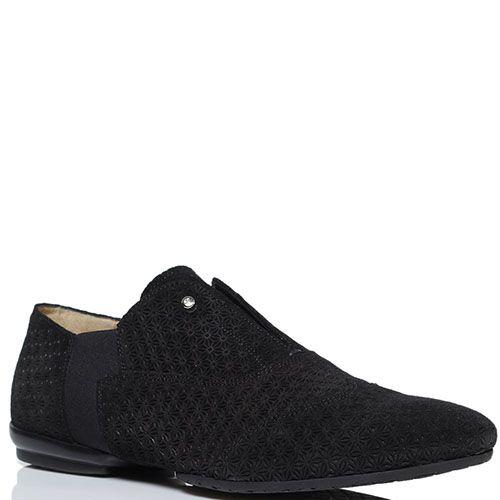 Черные замшевые туфли Cesare Paciotti с перфорацией, фото