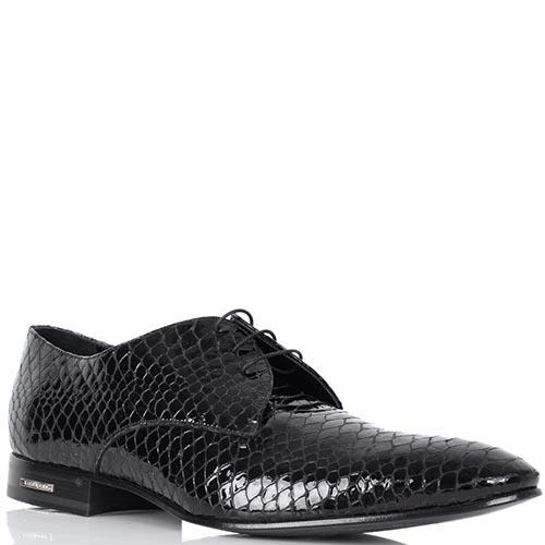 Лаковые туфли Richmond черного цвета с тиснением под кожу питона, фото