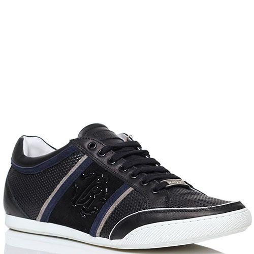 Черные кроссовки из перфорированной кожи Roberto Cavalli с фирменным логотипом, фото