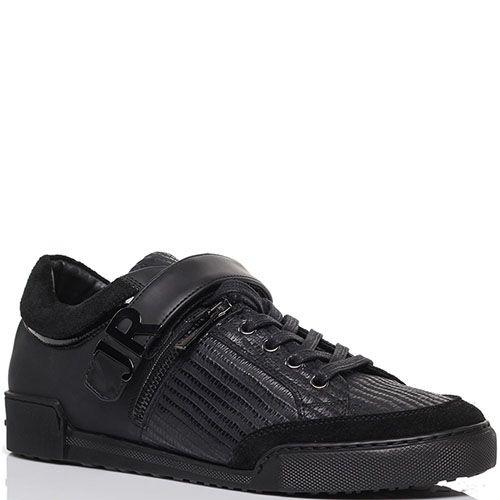 Кеды из кожи на шнуровке и липучках Lonvie черного цвета, фото