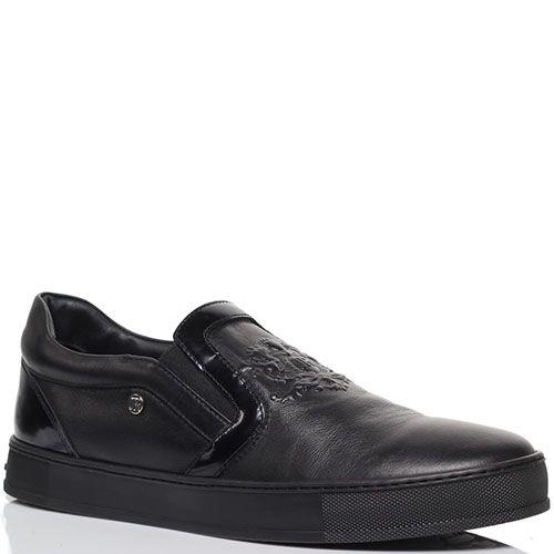 Туфли-лоферы из кожи черного цвета с резным узором  Richmond и лаковыми деталями, фото