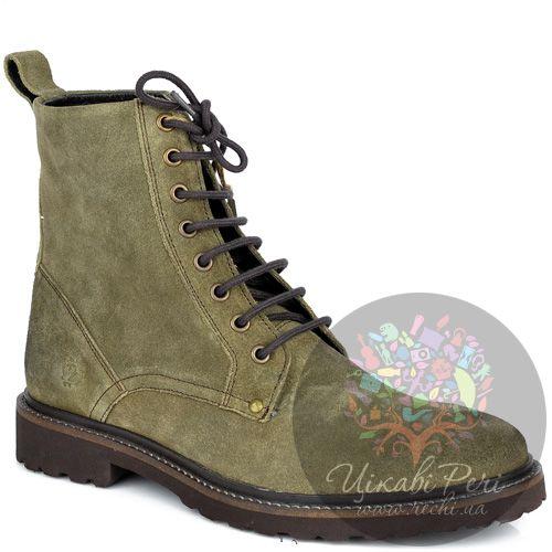 Ботинки Lumberjack серо-оливковые замшевые с текстильным утеплителем, фото