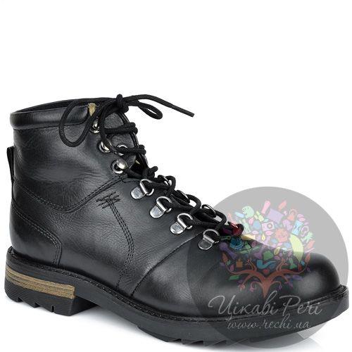 Ботинки Lumberjack черные кожаные на стильной толстой подошве, фото