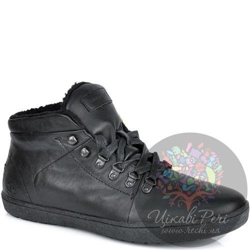 Ботинки Lumberjack кожаные черные с утеплителем на сплошной подошве, фото