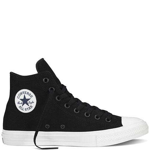 Мужские высокие кеды Converse черного цвета с белой подошвой, фото