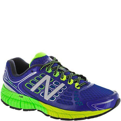 Беговые кроссовки New Balance 1260 синие с зеленым, предотвращающие гиперпронацию, фото