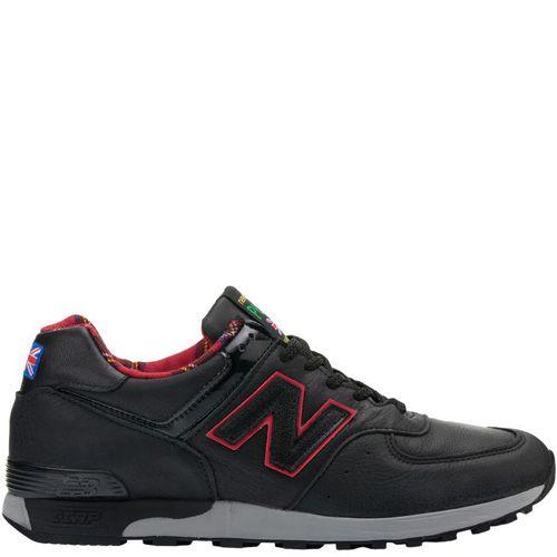 Мужские кроссовки New Balance 576 кожаные черные с клетчатой красной подкладкой, фото