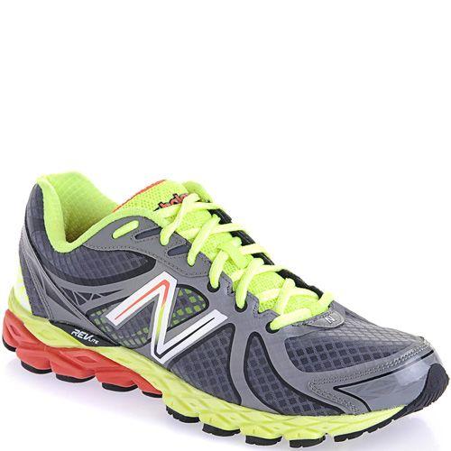 Мужские кроссовки для бега New Balance 870 серые с лимонным и красным, фото