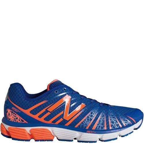 Кроссовки New Balance мужские для бега синие с ярко-оранжевым, фото