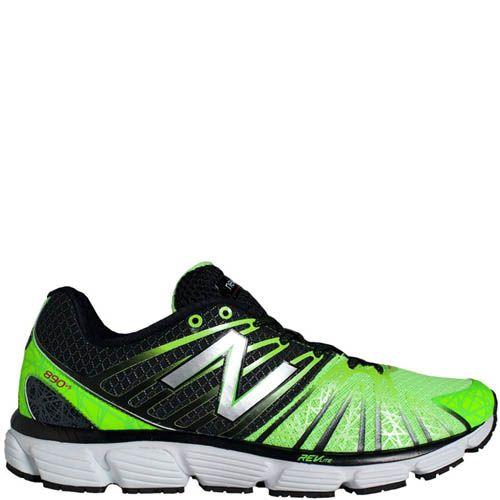 Кроссовки New Balance мужские для бега черные с ярко-зеленым, фото