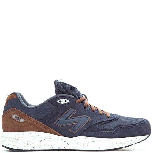 Кроссовки New Balance мужские замшевые синий с коричневым, фото