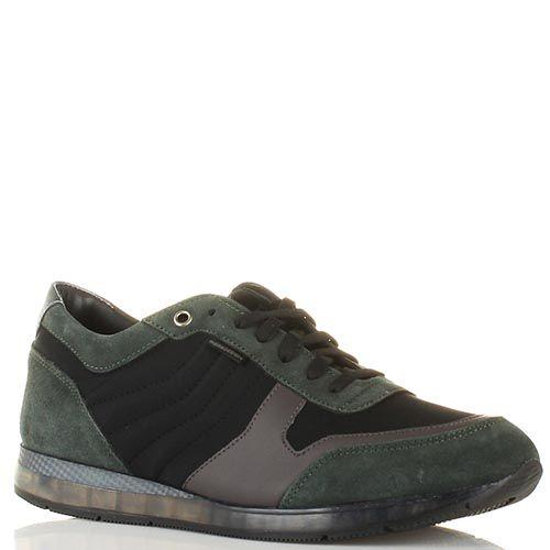 Кроссовки Momodesign из натуральной черной и темно-зеленой замши, фото