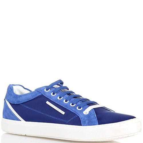 Кеды из текстиля с замшевыми деталями Momodesign голубого цвета на толстой подошве, фото