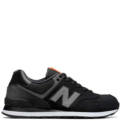 Замшевые кроссовки New Balance 574 черные с серым, фото