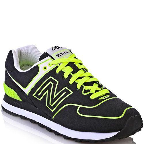Кроссовки New Balance 574 Neon черные с ярко-лимонным, фото