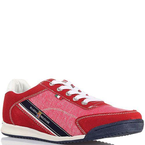 Замшевые кроссовки с деталями из текстиля Marina Militare красного цвета, фото