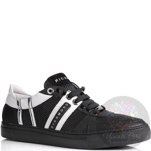 Кроссовки Richmond мужские кожаные черного цвета с мелкой перфорацией, фото