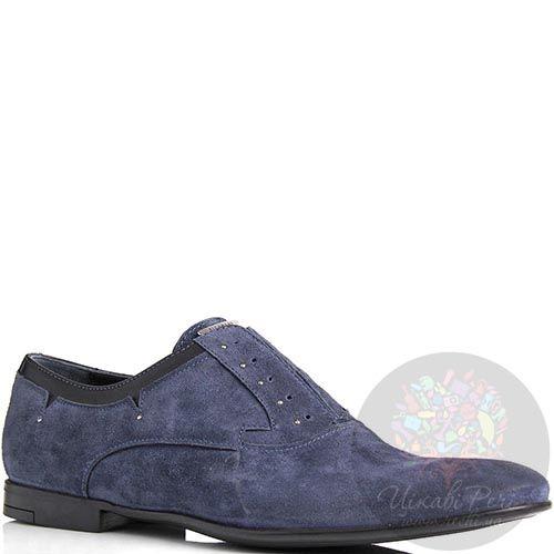 Туфли Richmond мужские замшевые синего цвета с маленькими круглыми заклепками, фото