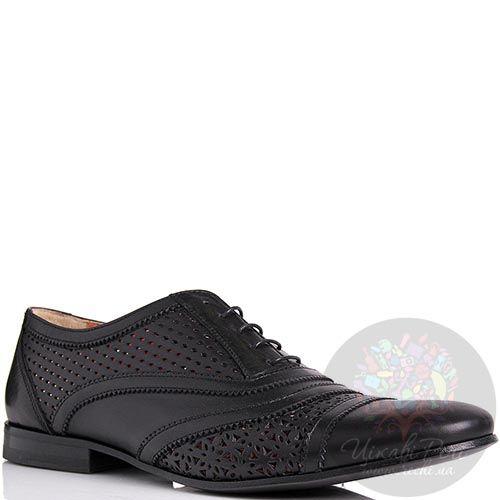 Туфли John Richmond черного цвета с перфорацией, фото