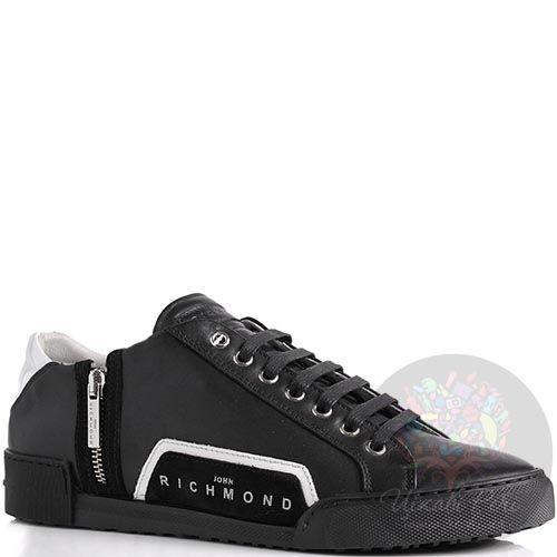 Кроссовки John Richmond черного цвета икожанные с молнией, фото