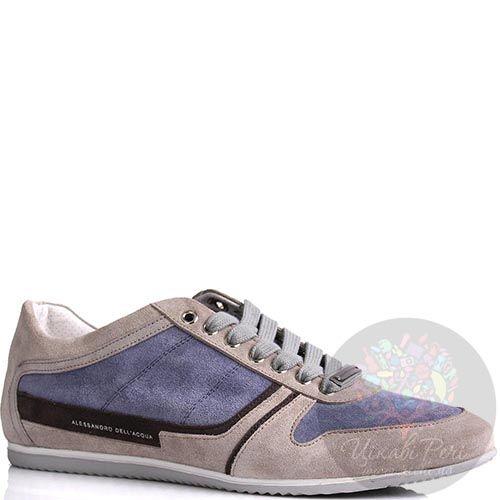 Кроссовки Alessandro Dell Acqua мужские замшевые коричневые с серым, фото