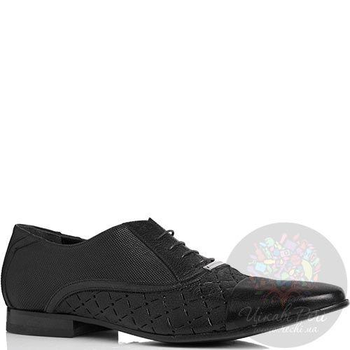 Туфли Alessandro Dell'acqua классические черного цвета с перфорацией, фото