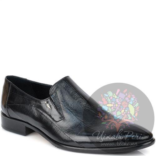 Туфли Valerio Neri закрытые черные с фактурой кожи морского угря, фото