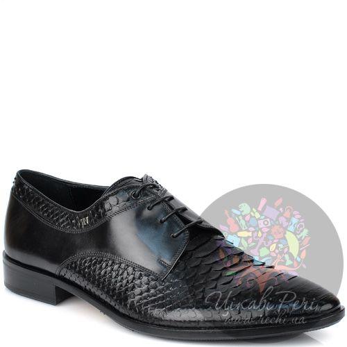Туфли-дерби Valerio Neri черные из гладкой кожи и с фактурой кожи питона, фото