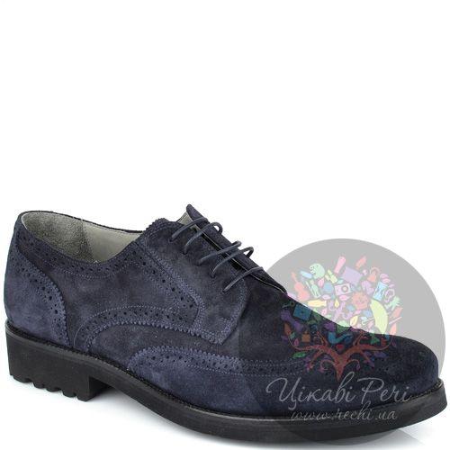 Туфли-броги Valerio Neri темно-синие замшевые, фото