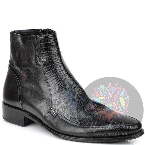 Ботинки Valerio Neri черные в сочетании гладкой кожи с фактурой кожи питона, фото