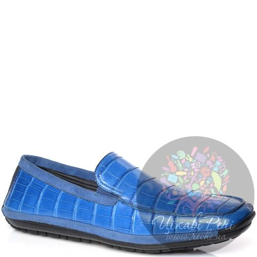 Слиперы Pakerson на протекторной спортивной подошве синие с текстурой кожи крокодила, фото