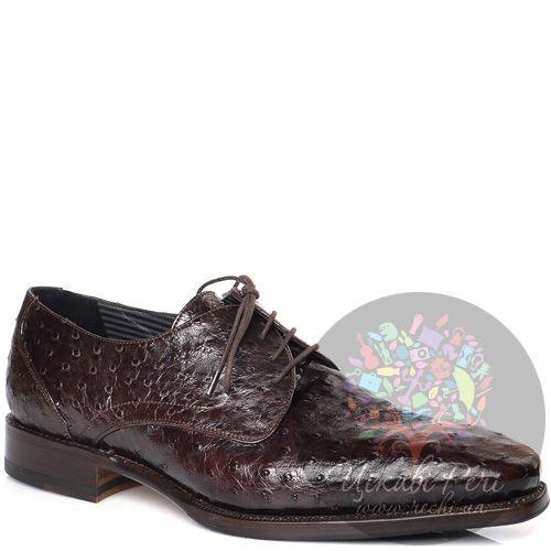 Туфли-дерби Pakerson темно-коричневые с текстурой кожи страуса, фото