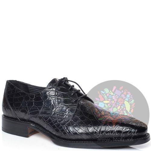 Туфли-дерби Pakerson черные с фактурой кроко на утолщенной подошве, фото