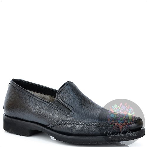 Туфли Pakerson кожаные черные на меху с подошвой микропора, фото